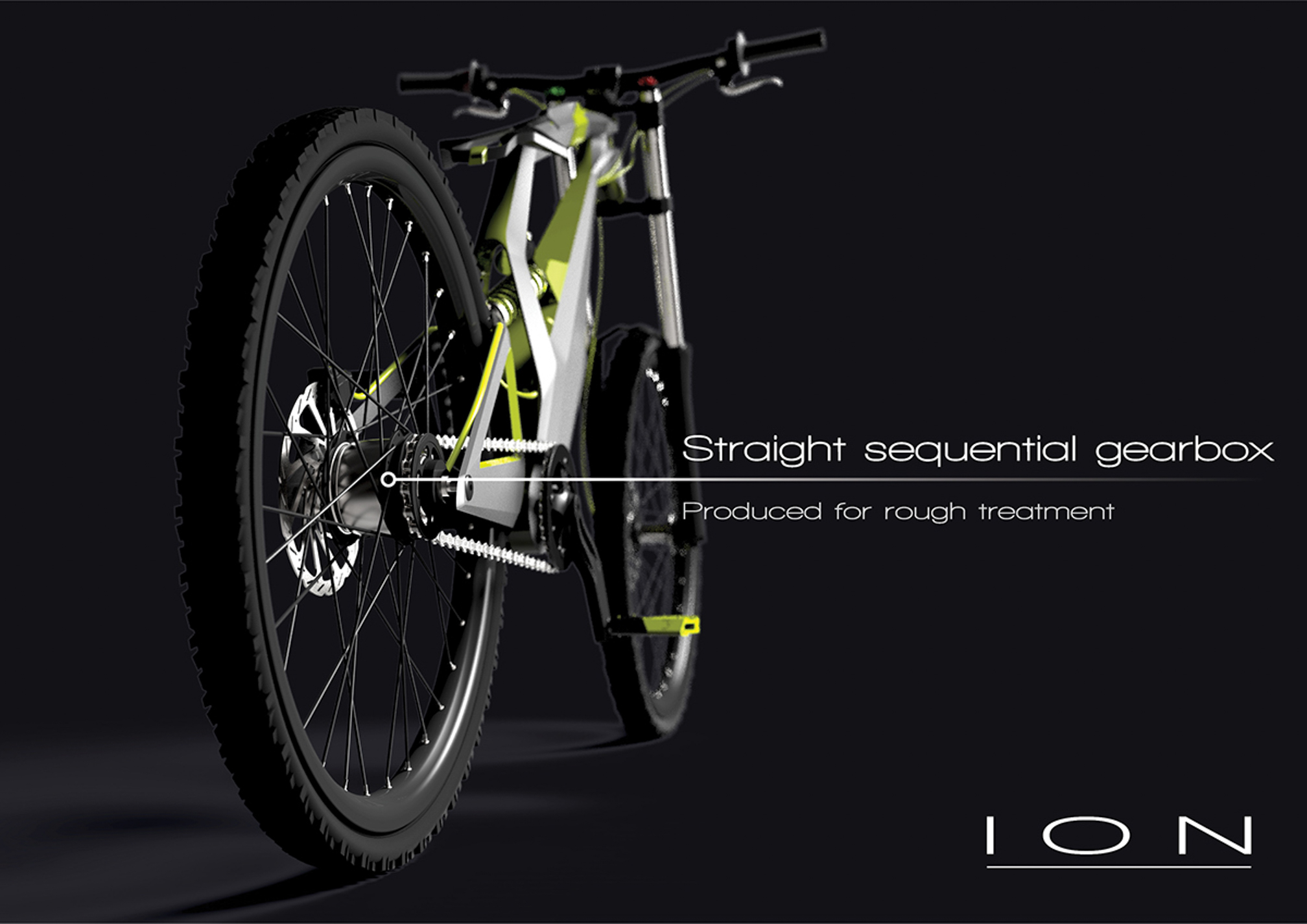 "prototype of electrical bike with text ""straight sequential gearbox"""