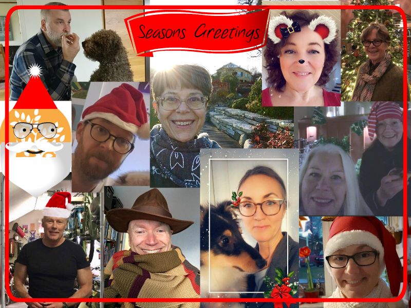 "Collage av julbilder med Encells medarbetare, ""Seasons Greetings""."