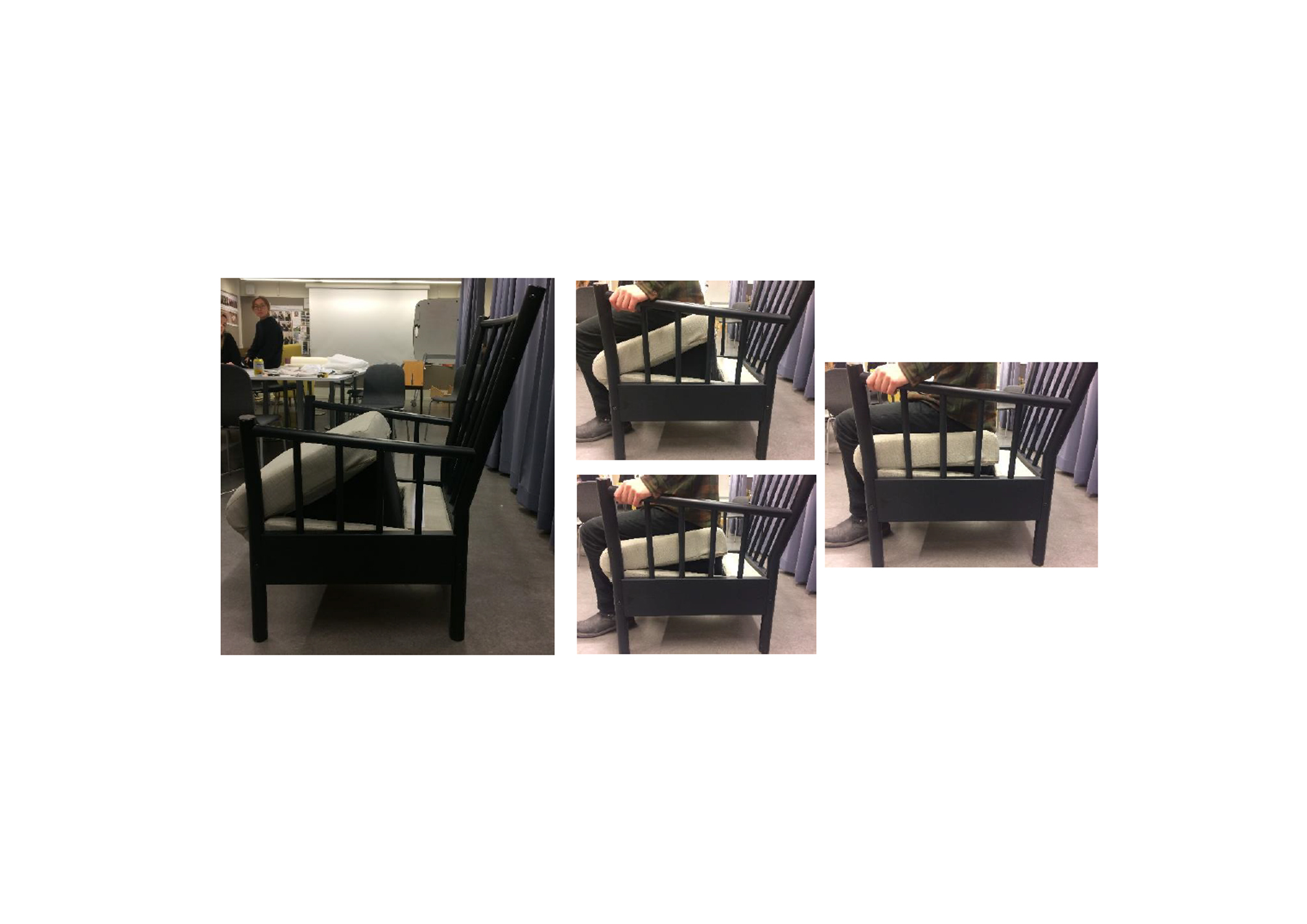 Several pictures showing how the cushion helps a person get up from an armchair