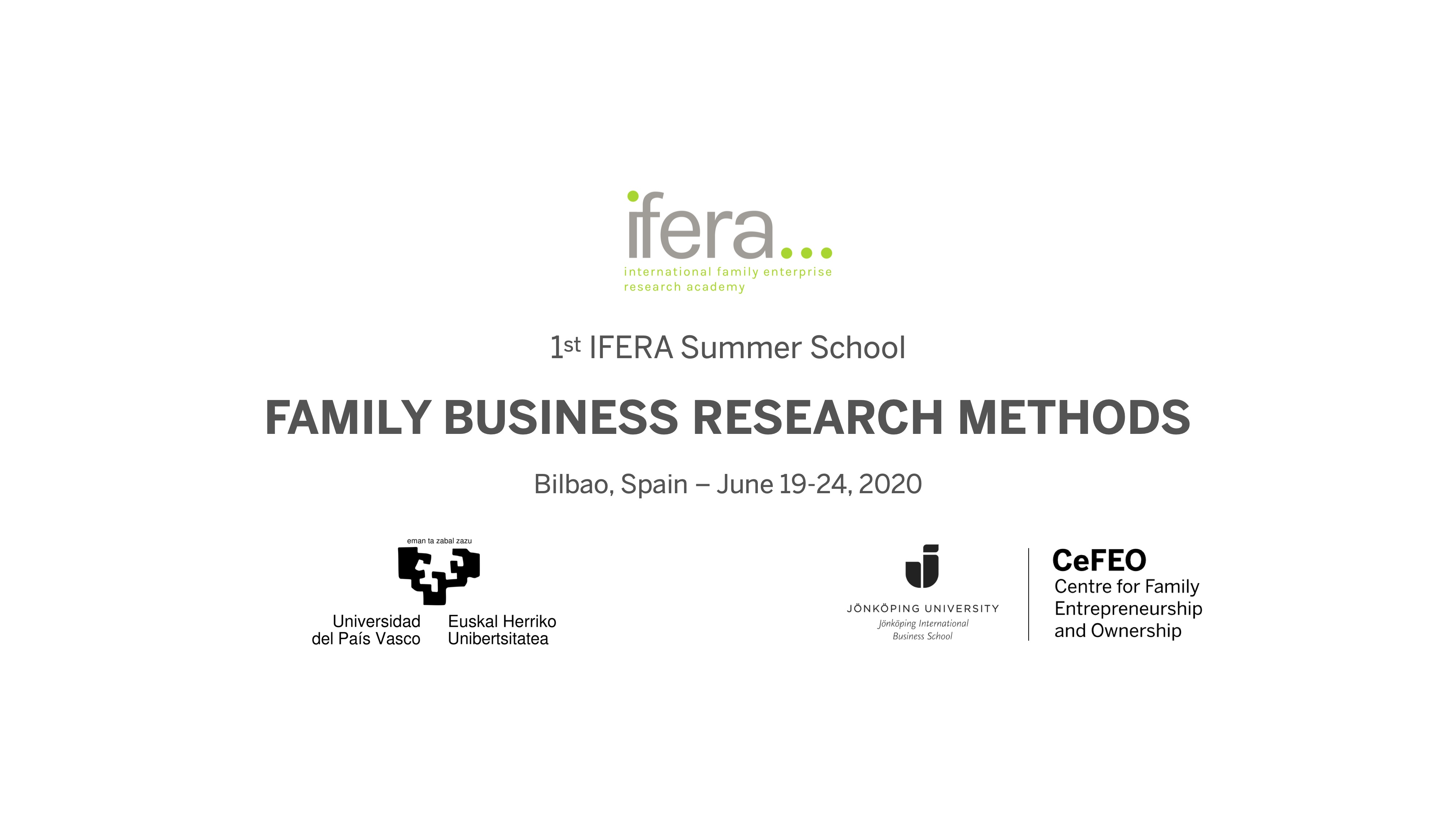 Text: Family business research methods - IFERA summer school
