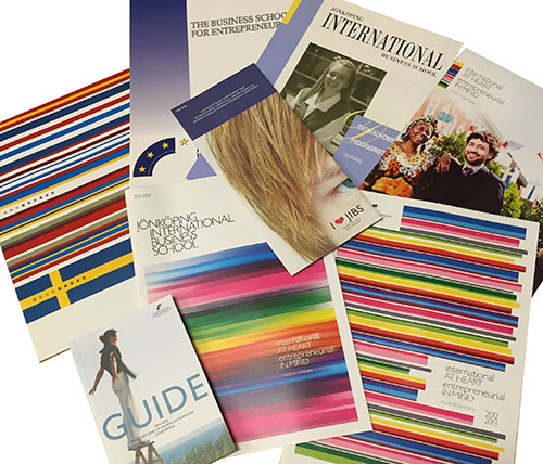 Student recruitment brochures from different eras