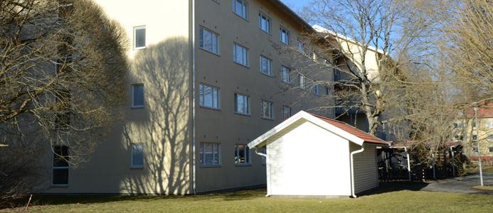 Street view of student apartment building