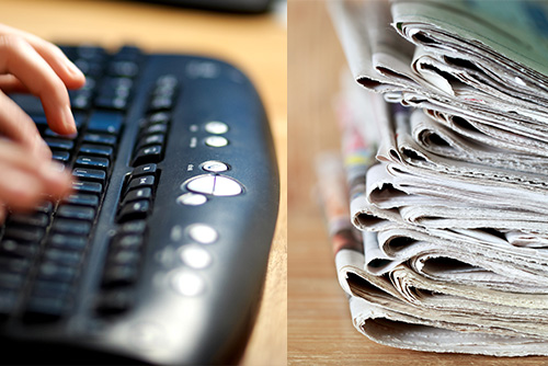 Keyboard and newspapers