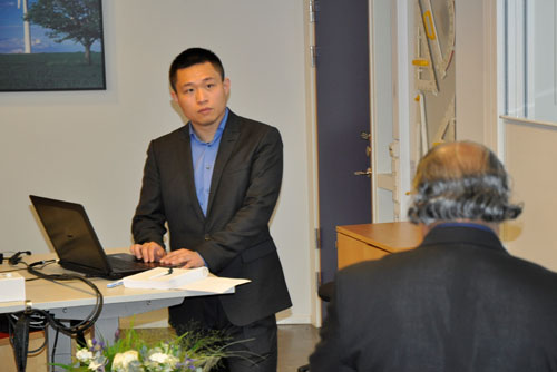 Baiwei Zhu has defended his doctoral thesis in Gjuterisalen at the Technical University of Jönköping. His opponent was professor Rajan Ambat, Technical University of Denmark. Photo: Daniel Sjödahl