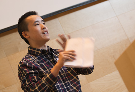 Chen Sun, part of the winning team, presenting to the jury