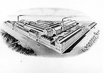 Drawing from the 1910s of the factory area which today is the university campus. The foundry, now the university library, is seen in the lower right corner. Photo from Jönköping county museum.